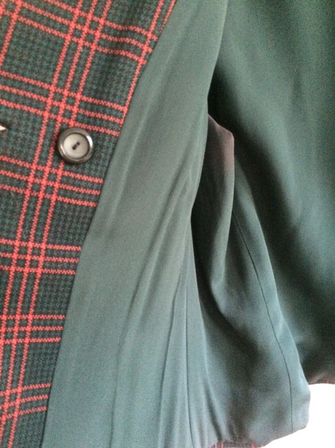 Rudy Possibly Vintage Wool Wool Size 12 Jacket Red, Black, and Forest Green Plaid Blazer Image 4
