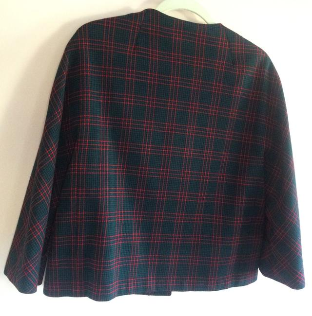 Rudy Possibly Vintage Wool Wool Size 12 Jacket Red, Black, and Forest Green Plaid Blazer Image 5