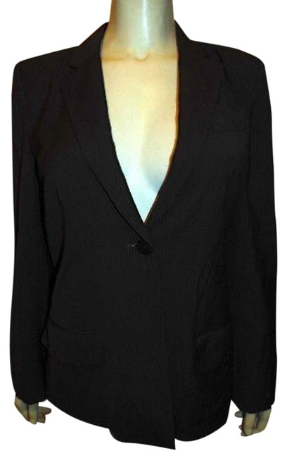 DKNY Dress Jacket Tailored Fit Button Front DARK BROWN PIN STRIPED Blazer