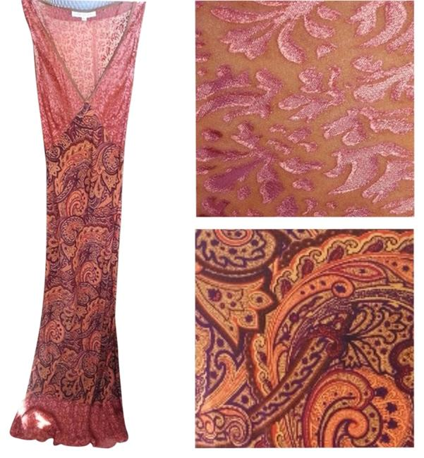 Paisley Coral Maxi Dress by Flesh and Bone Paisley Boho Hippie Sheer Velvet Coral Summer Maxi