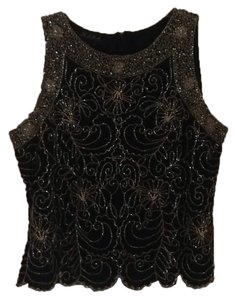 J Kara Top Black with tan beading
