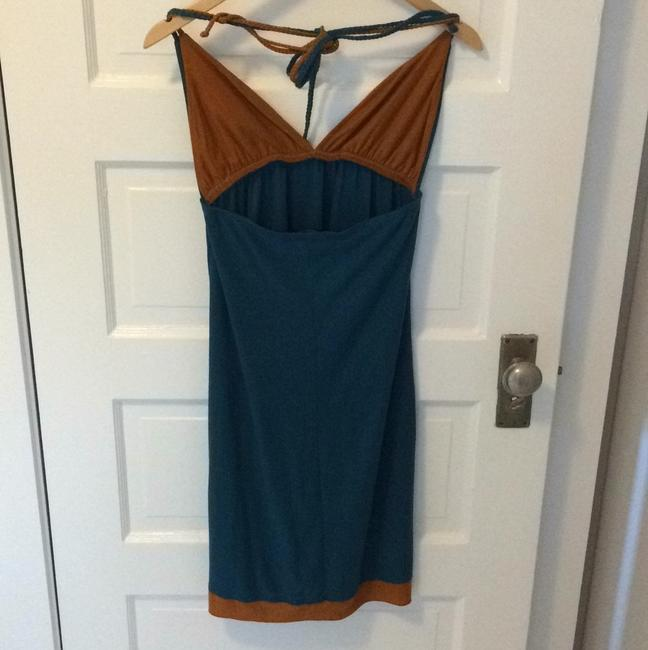 T-Bags Los Angeles short dress Teal blue and brown on Tradesy Image 1