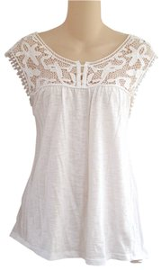 Ava & Grace Anthropologie Sz M 100% Cotton Crochet Embroidered Henley Knit Top White