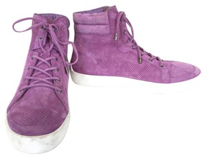 Joie Leather Suede High Top Sneakers Designer Sneakers Lavender Purple Athletic