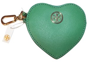 Tory Burch Saffiano Heart Zip Coin Case Key Fob Style#41149212