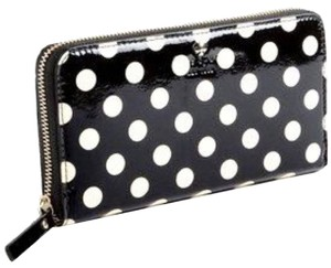 Kate Spade Kate Spade Black And White Patent Leather Polka Dot Continental Wallet New