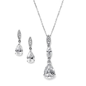 Mariell Cz Drop Wedding And Formal Necklace And Earring Set