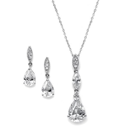 Mariell Silver Cz Drop and Formal Necklace and Earring Jewelry Set