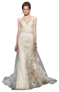 10196c6a1b84 Jim Hjelm Peach and Ivory Silk Satin Organza Tulle Alencon Lace Horsehair  Closing At Fashion Show