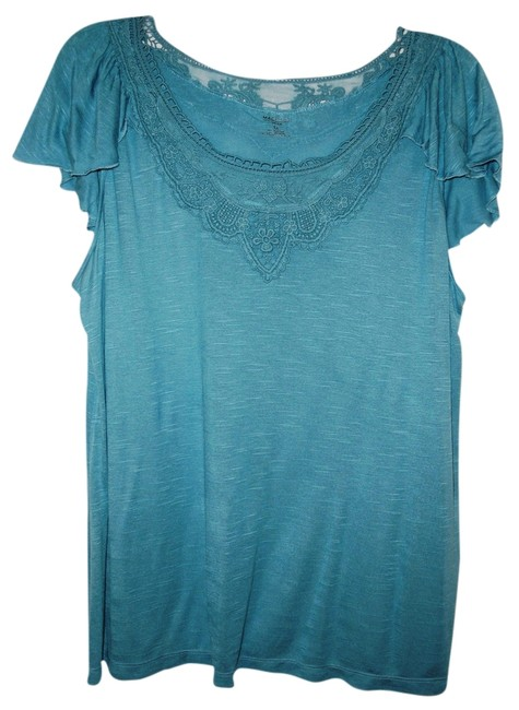 1 Madison Lace Trim Top Teal/Blue 3x