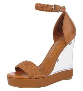 Jeffrey Campbell Nude Leather Sexy Summer Tan Wedges