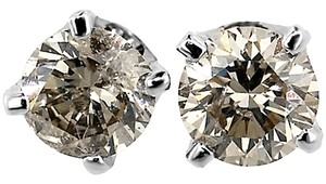 ABC Jewelry Near 1/2 ct round diamond studs earrings .42 ct 14Kt White Gold 100% Natural made in US
