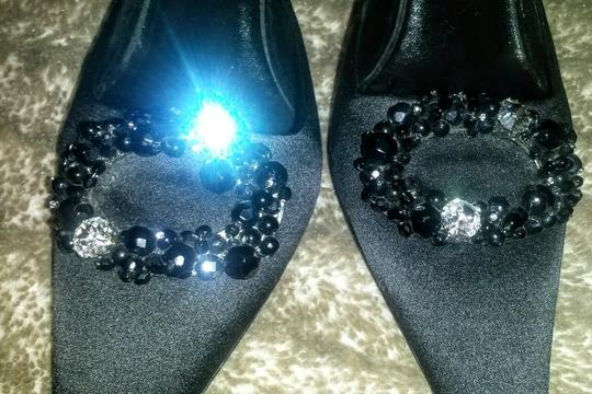 Oscar de la Renta Evening Wreath Bling Bling Crystals Beads Satin Made In Italy Vero Cuoio Euro 41 Us 10 Pointed Toe Holiday Parties Party Black Formal Image 4
