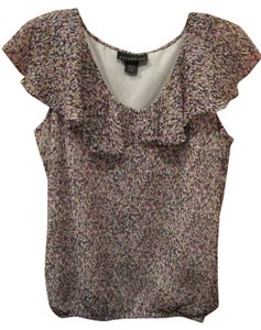 Attention Plum Navy Yellow Easy Care Fully Lined Tank Ruffle Elastic Waist Top Multi