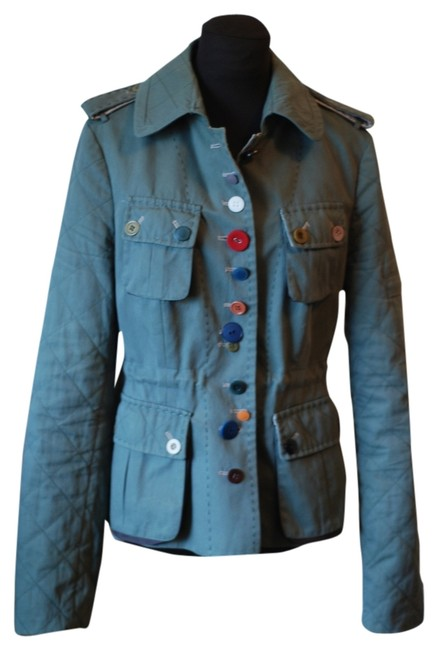 Item - Green Unique Buttons Quilted Sleeves Jacket Size 4 (S)