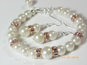 Other Sale Set Of 7 Bracelet And Earrings Bridesmaid Cream Pearl Rose Gold Bridesmaid Bracelet Creampearl Bracelet Weding