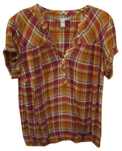 Old Navy Short Sleeve Plaid Button Top Multi
