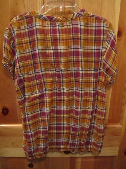 Old Navy Short Sleeve Plaid Button V Neck Elastic Top Multi