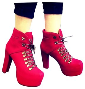 Jeffrey Campbell Bootie Chunky Red Boots