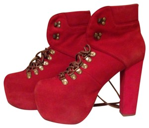 Jeffrey Campbell Chunky Suede Red Boots