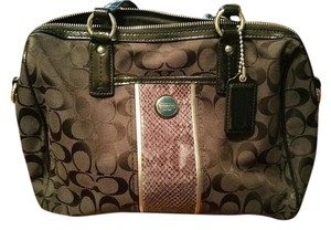 Coach Canvas Leather Snake Skin Satchel in Black