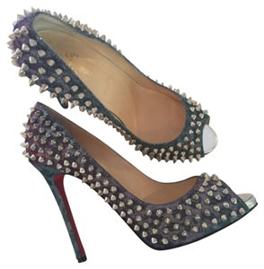 Christian Louboutin Spikes Open Toe Loubs Pumps