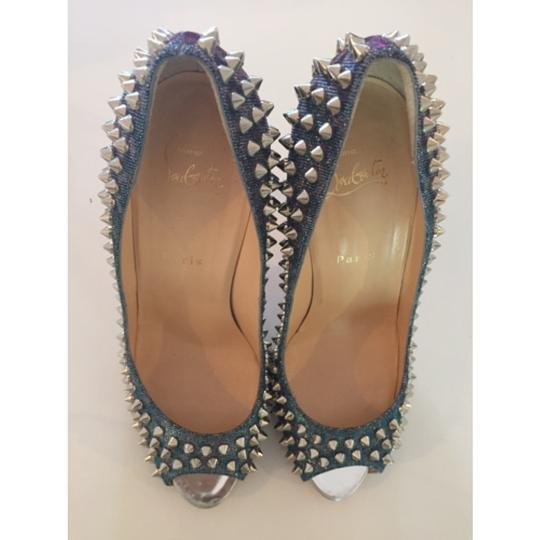 Christian Louboutin Spikes Loubs Party Metallic silver Pumps Image 7