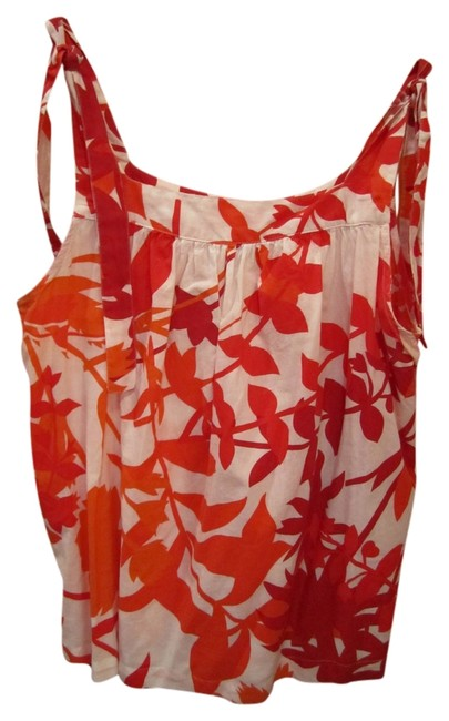 A.N.A. Jeans Tropical Print Red Orange White Tie Shoulder Detail Top Multi
