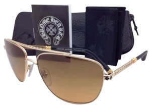 Chrome Hearts CHROME HEARTS Sunglasses WRECKED'EM GP-BKL Gold Plated Frame w/Brown w/Leather