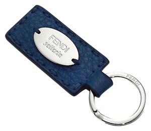 Fendi Selleria Leather Keychain Keyring Keyholder Unisex Blue