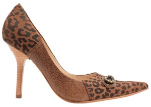 MS Shoe Designs tan/leopard print Pumps