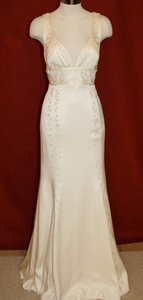 Nicole Miller Bridal Antique White Silk Beaded Embroidered Gown La0004 Formal Wedding Dress Size 8 (M)