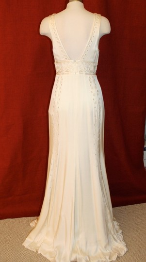 Nicole Miller Bridal Antique White Silk Beaded Embroidered Gown La0004 Formal Wedding Dress Size 8 (M) Image 1