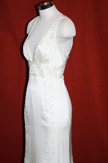 Nicole Miller Bridal Antique White Silk Beaded Embroidered Gown La0004 Formal Wedding Dress Size 8 (M) Image 2