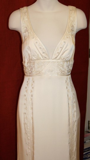 Nicole Miller Bridal Antique White Silk Beaded Embroidered Gown La0004 Formal Wedding Dress Size 8 (M) Image 3