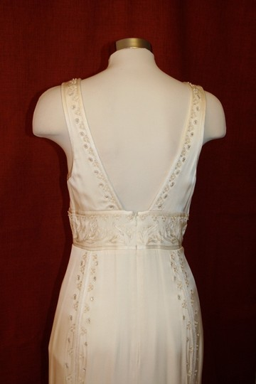 Nicole Miller Bridal Antique White Silk Beaded Embroidered Gown La0004 Formal Wedding Dress Size 8 (M) Image 5