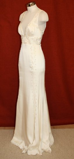 Nicole Miller Bridal Antique White Silk Beaded Embroidered Gown La0004 Formal Wedding Dress Size 8 (M) Image 6
