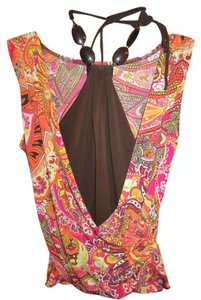 IZ Byer California Halter Print Bead Tie Neck Top Multi