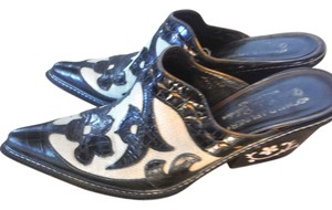Donald J. Pliner Mother Of Pearl Western Black white cutouts Mules