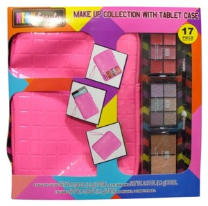 Neon Beauty Makeup Collection W / Neon Pink tablet case. 17 Pieces