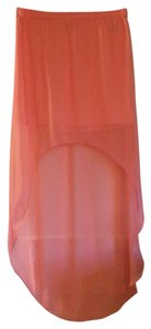 Express Sheer High-low Bright Colored Mini Skirt Coral