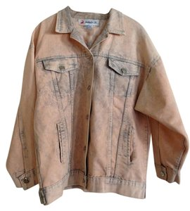 Nathalie B. Large & Peach & Gray Womens Jean Jacket