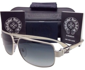Chrome Hearts New CHROME HEARTS Sunglasses TANK SLAPPER BS-WEPV Silver w/ Grey Fade & Wood Temples