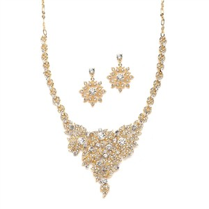 Mariell Gold Crystal Statement Necklace and Earrings Jewelry Set