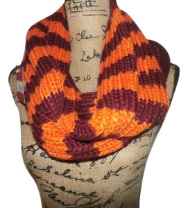 Mossimo Supply Co. Womens Mossimo Supply Orange and Burgandy Stripe Infinity Scarf - NEW