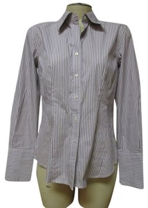 Ann Taylor Button Down Shirt Purple & White Striped