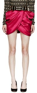 Balmain x H&M Silk Paris Size 6 Silk Mini Skirt RED