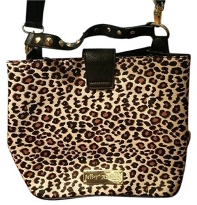 Betsey Johnson Leopard Studded Short Strap Shoulder Bag