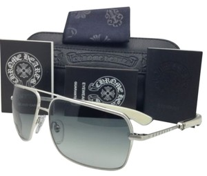 Chrome Hearts New CHROME HEARTS Sunglasses SOPHISTAFUCKS 63-14 BS-WEPV Silver & Ebony Wood w/ Grey