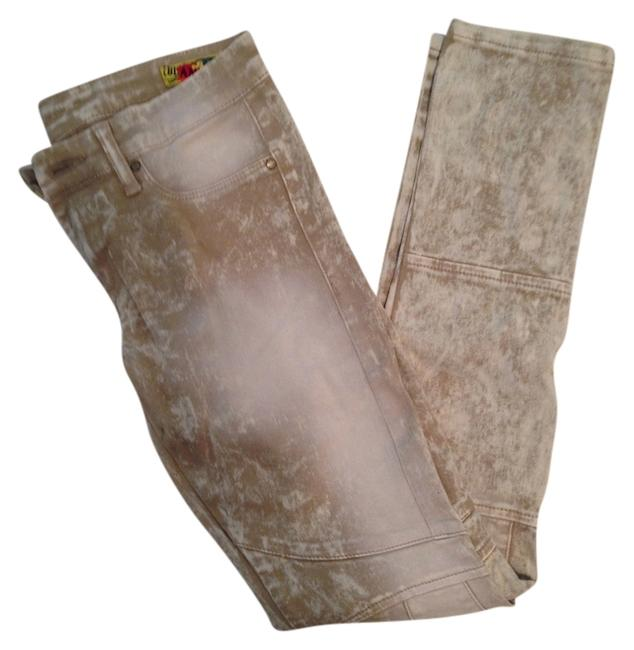 Item - White/ Tan Acid The Motorcycle Skinny Jeans Size 26 (2, XS)